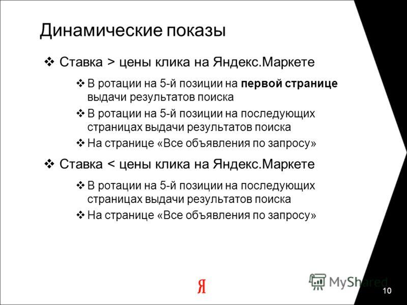 10 Динамические показы Ставка > цены клика на Яндекс.Маркете В ротации на 5-й позиции на первой странице выдачи результатов поиска В ротации на 5-й позиции на последующих страницах выдачи результатов поиска На странице «Все объявления по запросу» Ста