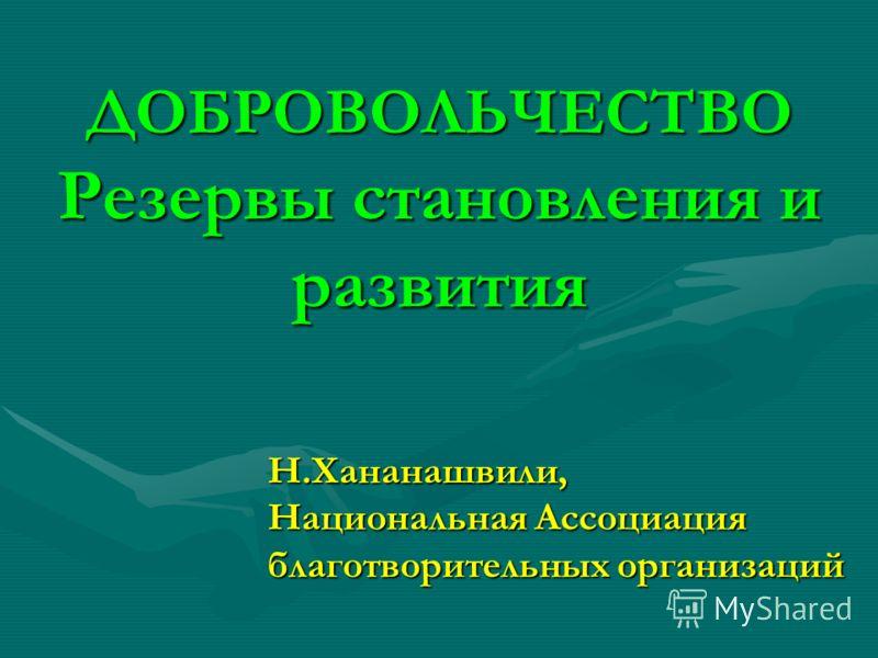 ДОБРОВОЛЬЧЕСТВО Резервы становления и развития Н.Хананашвили, Национальная Ассоциация благотворительных организаций