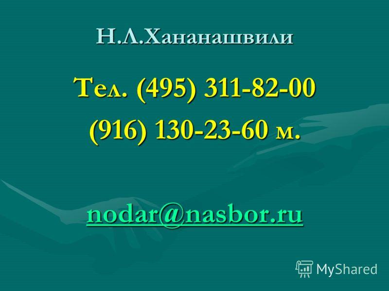 Н.Л.Хананашвили Тел. (495) 311-82-00 (916) 130-23-60 м. nodar@nasbor.ru