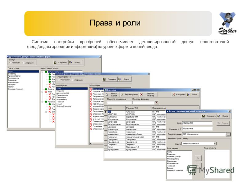 Права и роли Система настройки прав/ролей обеспечивает детализированный доступ пользователей (ввод/редактирование информации) на уровне форм и полей ввода.