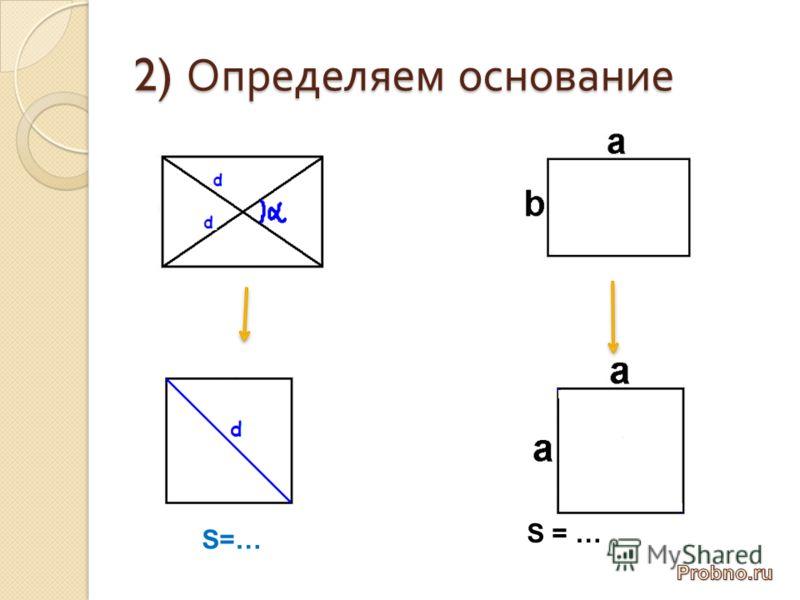 2) Определяем основание S = …
