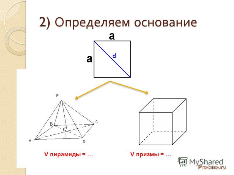 2) Определяем основание V пирамиды = …V призмы = …