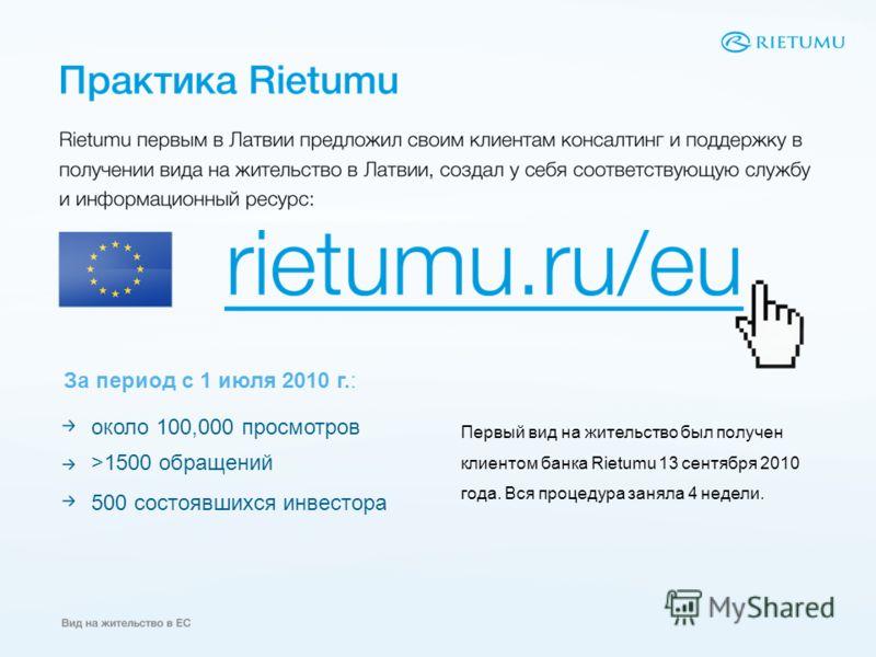 около 100,000 просмотров >1500 обращений 500 состоявшихся инвестора Первый вид на жительство был получен клиентом банка Rietumu 13 сентября 2010 года. Вся процедура заняла 4 недели. За период с 1 июля 2010 г.: