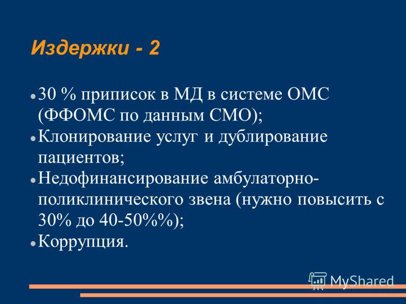 Издержки - 2 30 % приписок в МД в системе ОМС (ФФОМС по данным СМО); Клонирование услуг и дублирование пациентов; Недофинансирование амбулаторно- поликлинического звена (нужно повысить с 30% до 40-50%); Коррупция.