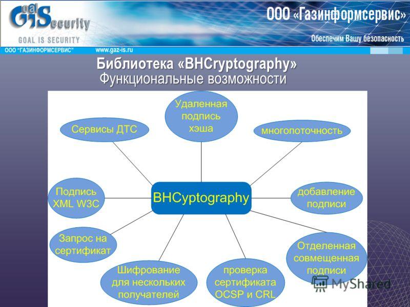 Библиотека «BHCryptography» Функциональные возможности