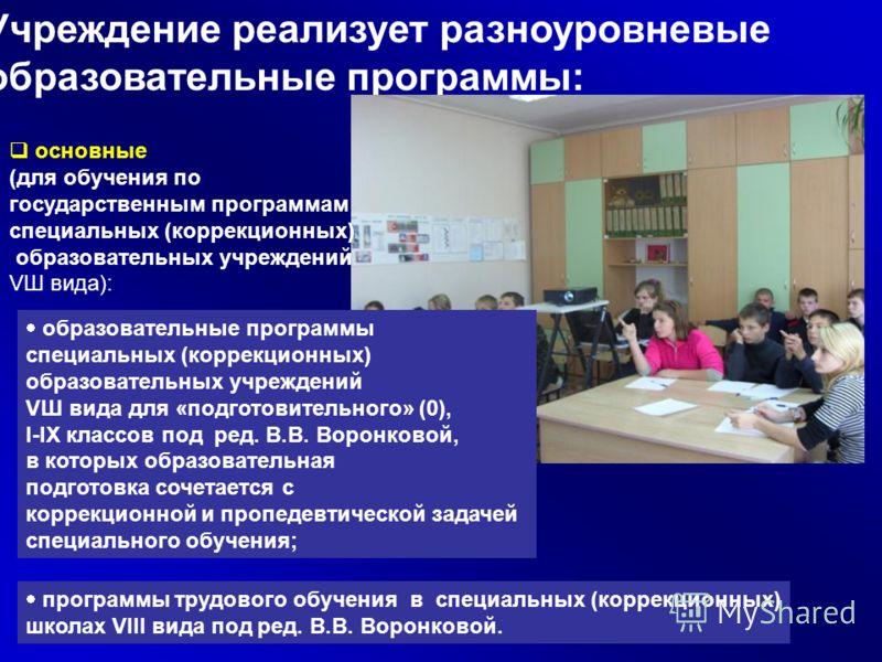 Учреждение реализует разноуровневые образовательные программы: основные (для обучения по государственным программам специальных (коррекционных) образовательных учреждений VШ вида): о бразовательные программы специальных (коррекционных) образовательны