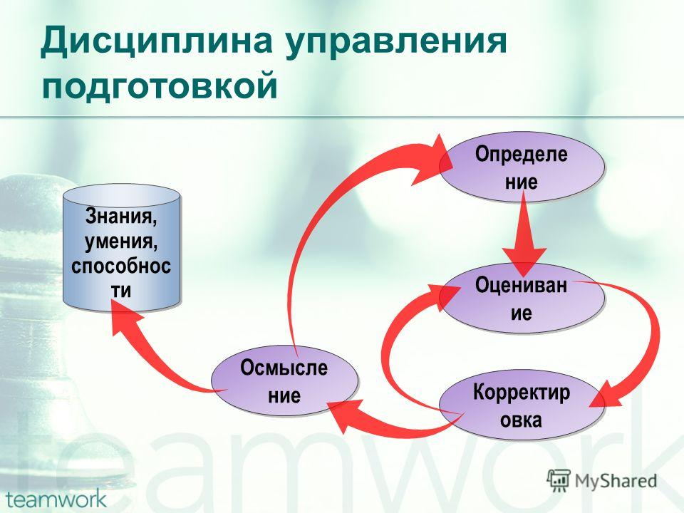 Определе ние Дисциплина управления подготовкой Знания, умения, способнос ти Корректир овка Оцениван ие Осмысле ние