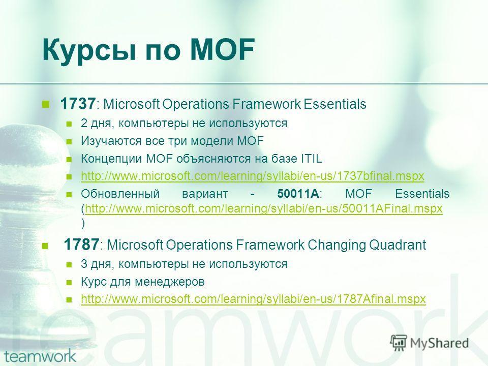 Курсы по MOF 1737 : Microsoft Operations Framework Essentials 2 дня, компьютеры не используются Изучаются все три модели MOF Концепции MOF объясняются на базе ITIL http://www.microsoft.com/learning/syllabi/en-us/1737bfinal.mspx Обновленный вариант -