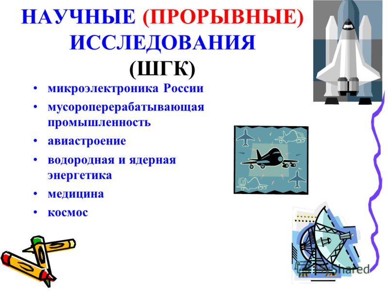 НАУЧНЫЕ (ПРОРЫВНЫЕ) ИССЛЕДОВАНИЯ (ШГК) микроэлектроника России мусороперерабатывающая промышленность авиастроение водородная и ядерная энергетика медицина космос