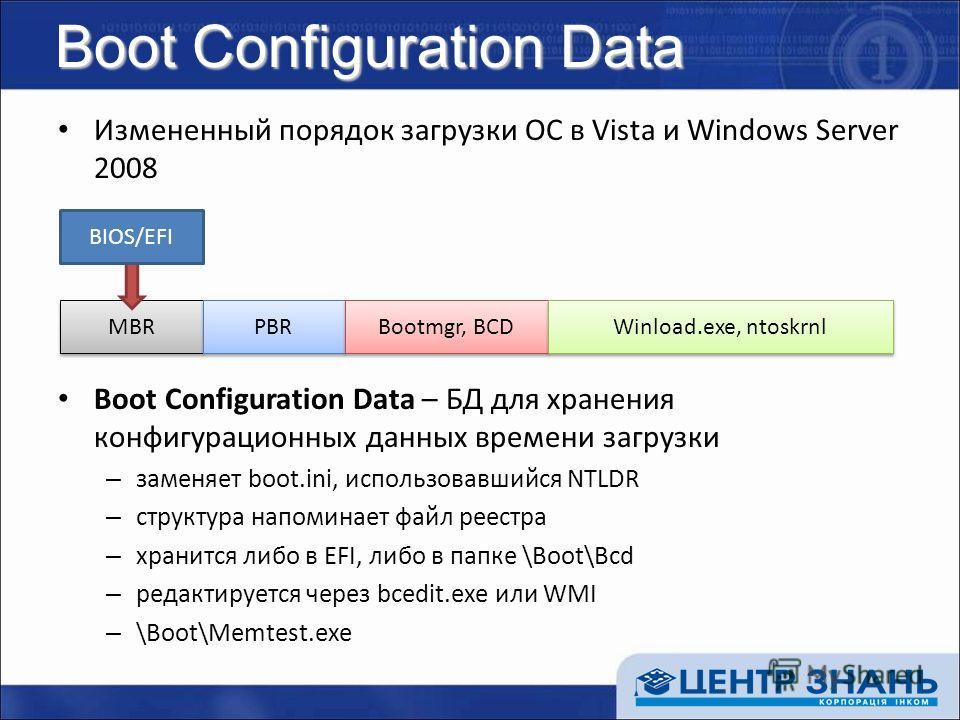 Boot Configuration Data Измененный порядок загрузки ОС в Vista и Windows Server 2008 Boot Configuration Data – БД для хранения конфигурационных данных времени загрузки – заменяет boot.ini, использовавшийся NTLDR – структура напоминает файл реестра –