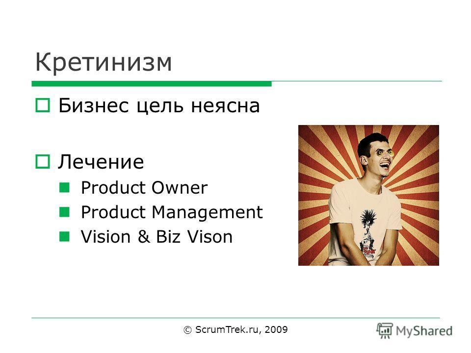 Кретинизм Бизнес цель неясна Лечение Product Owner Product Management Vision & Biz Vison © ScrumTrek.ru, 2009