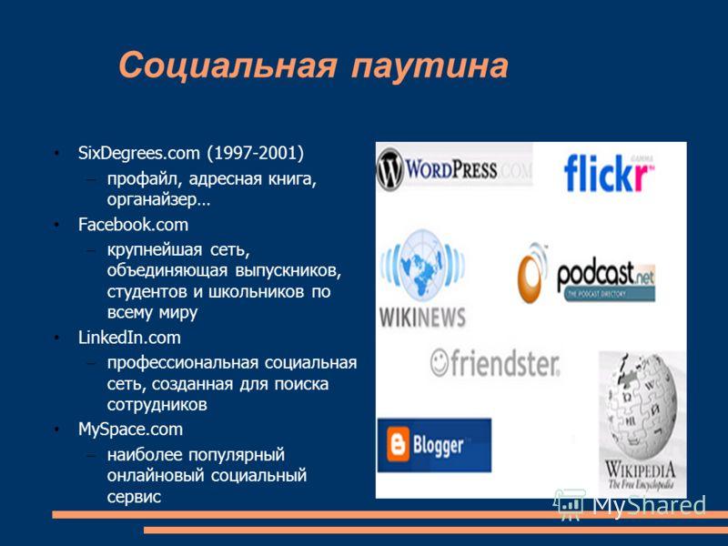 Социальная паутина SixDegrees.com (1997-2001) – профайл, адресная книга, органайзер… Facebook.com – крупнейшая сеть, объединяющая выпускников, студентов и школьников по всему миру LinkedIn.com – профессиональная социальная сеть, созданная для поиска