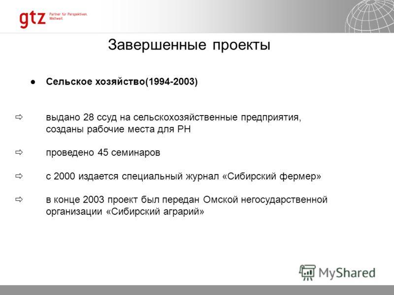 Сельское хозяйство(1994-2003) выдано 28 ссуд на сельскохозяйственные предприятия, созданы рабочие места для РН проведено 45 семинаров с 2000 издается специальный журнал «Сибирский фермер» в конце 2003 проект был передан Омской негосударственной орган