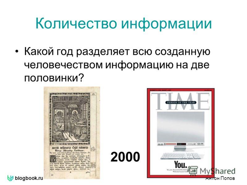 blogbook.ruАнтон Попов Количество информации Какой год разделяет всю созданную человечеством информацию на две половинки? 2000