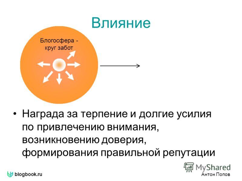 blogbook.ruАнтон Попов Круг влияния Влияние Награда за терпение и долгие усилия по привлечению внимания, возникновению доверия, формирования правильной репутации Блогосфера - круг забот