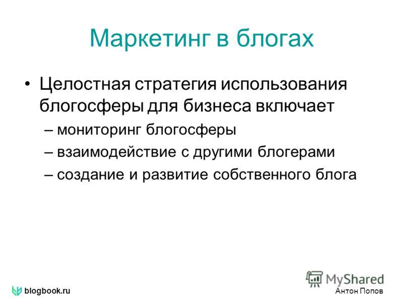 blogbook.ruАнтон Попов Маркетинг в блогах Целостная стратегия использования блогосферы для бизнеса включает –мониторинг блогосферы –взаимодействие с другими блогерами –создание и развитие собственного блога
