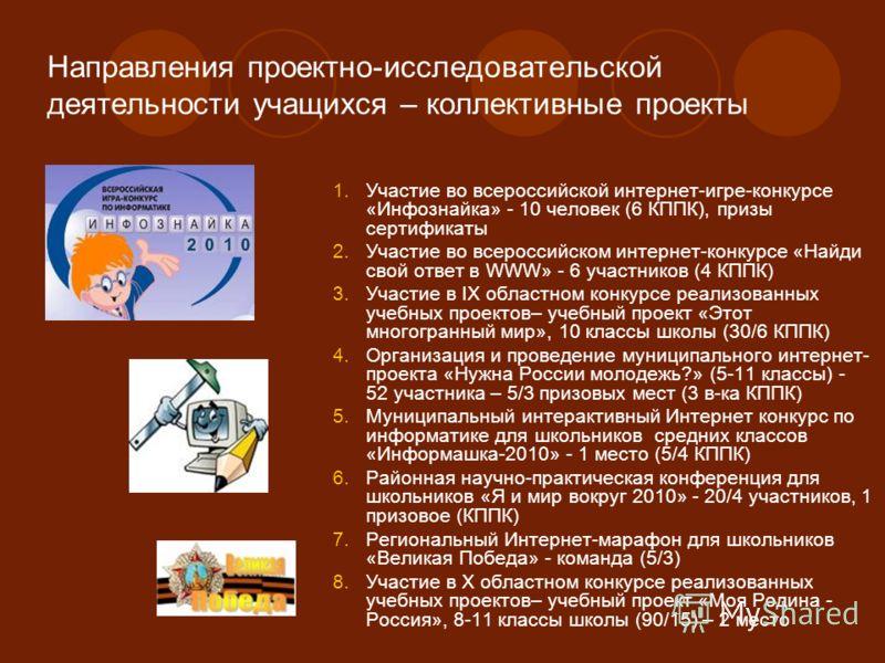 Направления проектно-исследовательской деятельности учащихся – коллективные проекты 1.Участие во всероссийской интернет-игре-конкурсе «Инфознайка» - 10 человек (6 КППК), призы сертификаты 2.Участие во всероссийском интернет-конкурсе «Найди свой ответ