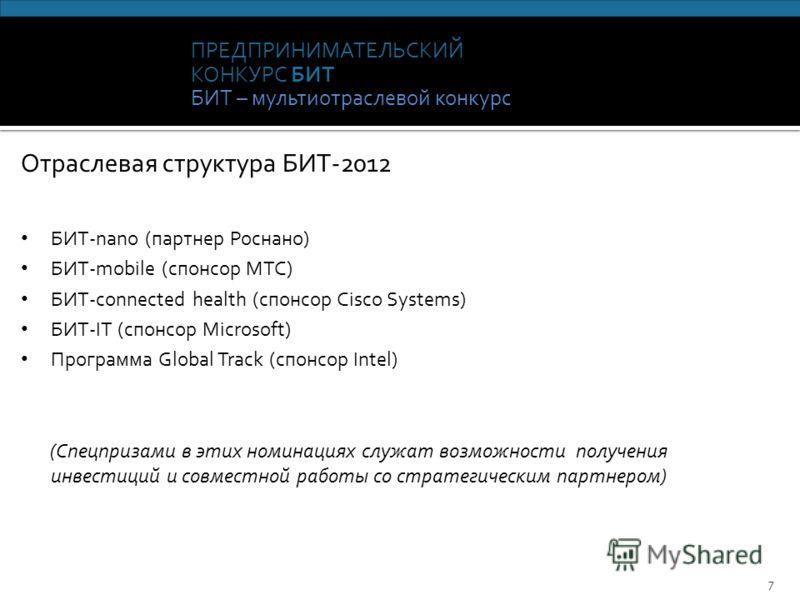 ПРЕДПРИНИМАТЕЛЬСКИЙ КОНКУРС БИТ БИТ – мультиотраслевой конкурс 7 Отраслевая структура БИТ-2012 БИТ-nano (партнер Роснано) БИТ-mobile (спонсор МТС) БИТ-connected health (спонсор Cisco Systems) БИТ-IT (спонсор Microsoft) Программа Global Track (спонсор