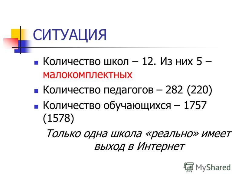 СИТУАЦИЯ Количество школ – 12. Из них 5 – малокомплектных Количество педагогов – 282 (220) Количество обучающихся – 1757 (1578) Только одна школа «реально» имеет выход в Интернет