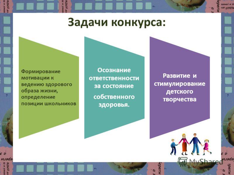 Задачи конкурса: Формирование мотивации к ведению здорового образа жизни, определение позиции школьников Осознание ответственности за состояние собственного здоровья. Развитие и стимулирование детского творчества