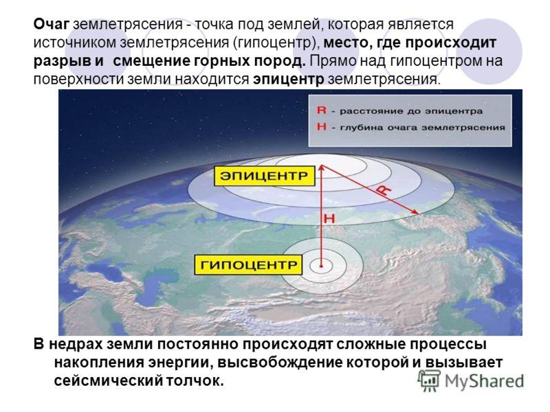 Очаг землетрясения - точка под землей, которая является источником землетрясения (гипоцентр), место, где происходит разрыв и смещение горных пород. Прямо над гипоцентром на поверхности земли находится эпицентр землетрясения. В недрах земли постоянно