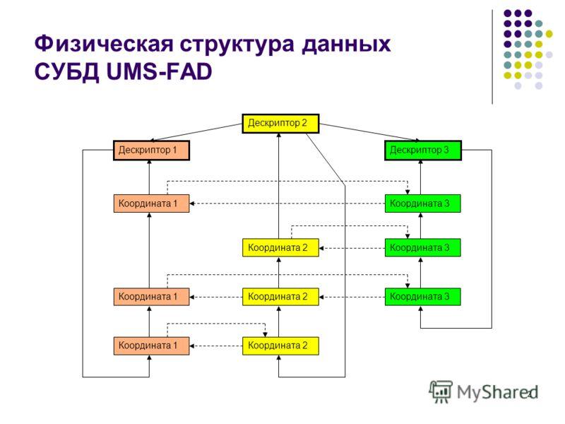 2 Физическая структура данных СУБД UMS-FAD Дескриптор 2 Дескриптор 1Дескриптор 3 Координата 1Координата 3 Координата 2Координата 3 Координата 1Координата 2 Координата 1 Координата 3