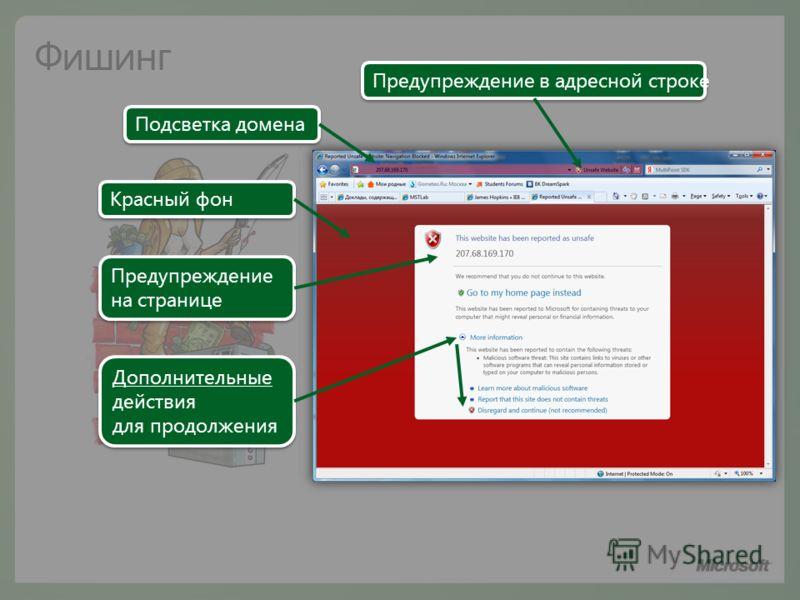 Красный фон Предупреждение в адресной строке Предупреждение на странице Предупреждение на странице Дополнительные действия для продолжения Дополнительные действия для продолжения Подсветка домена