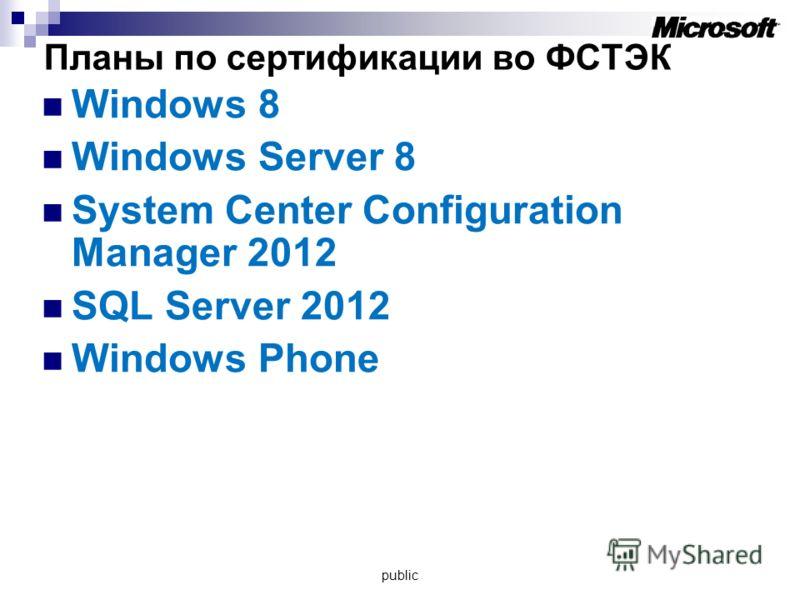 Планы по сертификации во ФСТЭК Windows 8 Windows Server 8 System Center Configuration Manager 2012 SQL Server 2012 Windows Phone public