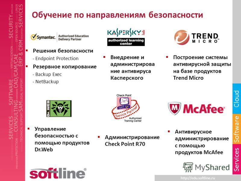 http://edu.softline.ru Software Cloud Services Обучение по направлениям безопасности Решения безопасности - Endpoint Protection Резервное копирование - Backup Exec - NetBackup Внедрение и администрирова ние антивируса Касперского Построение системы а