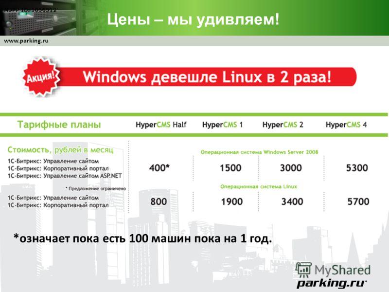 www.parking.ru Цены – мы удивляем! MSPP ID: 1056512 *означает пока есть 100 машин пока на 1 год.