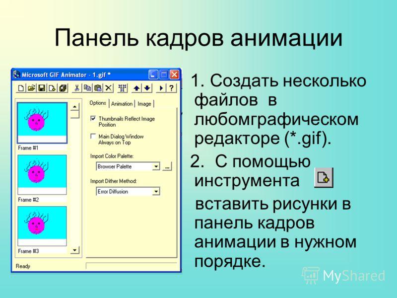 Панель кадров анимации 1. Создать несколько файлов в любомграфическом редакторе (*.gif). 2. С помощью инструмента вставить рисунки в панель кадров анимации в нужном порядке.