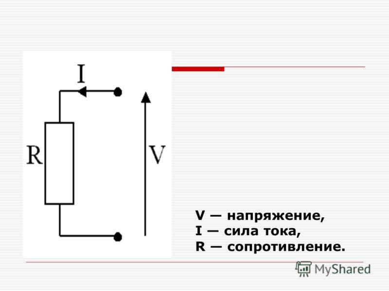V напряжение, I сила тока, R сопротивление.