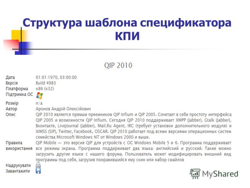 Структура шаблона спецификатора КПИ
