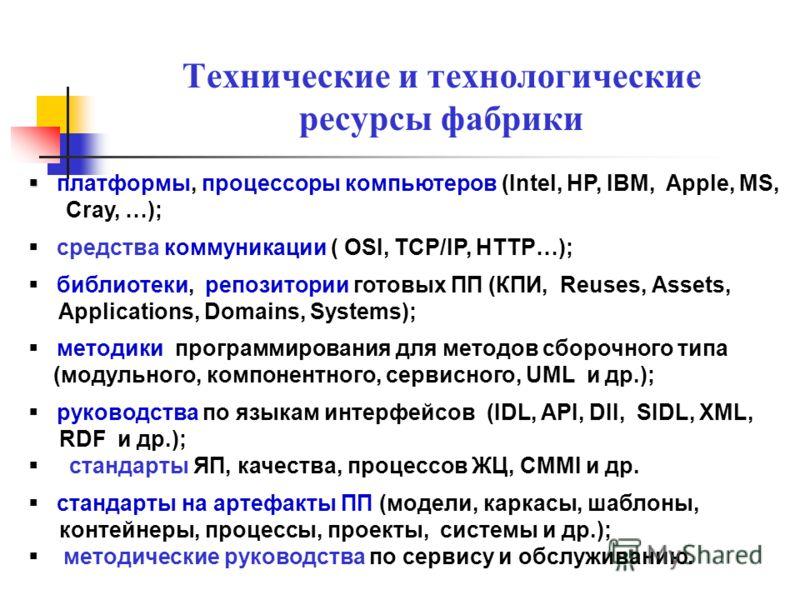Технические и технологические ресурсы фабрики платформы, процессоры компьютеров (Intel, HP, IBM, Apple, MS, Cray, …); средства коммуникации ( OSI, TCP/IP, HTTP…); библиотеки, репозитории готовых ПП (КПИ, Reuses, Аssets, Applications, Domains, Systems