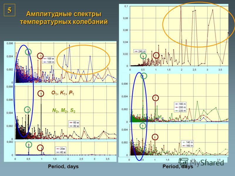 O 1, K 1, P 1 N 2, M 2, S 2 Period, days Амплитудные спектры температурных колебаний Period, days 5