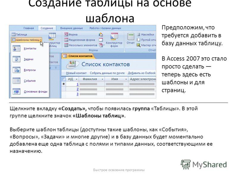 Быстрое освоение программы Создание таблицы на основе шаблона Предположим, что требуется добавить в базу данных таблицу. В Access 2007 это стало просто сделать теперь здесь есть шаблоны и для страниц. Щелкните вкладку «Создать», чтобы появилась групп