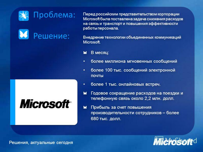 Решения, актуальные сегодня Перед российским представительством корпорации Microsoft была поставлена задача снижения расходов на связь и транспорт и повышения эффективности работы персонала. Внедрение технологии объединенных коммуникаций Microsoft. П
