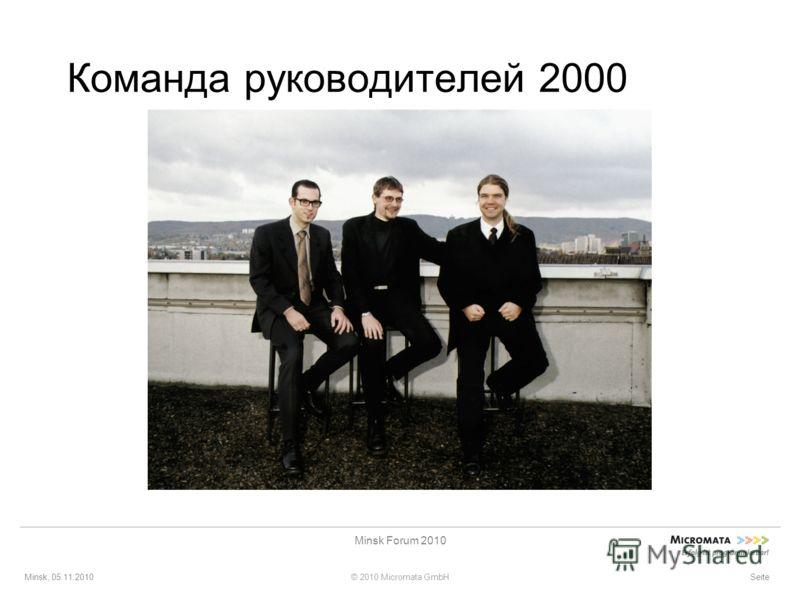 Minsk, 05.11.2010© 2010 Micromata GmbH Minsk Forum 2010 Seite Команда руководителей 2000