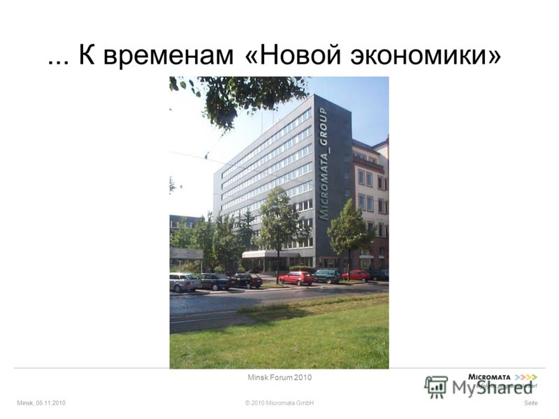 Minsk, 05.11.2010© 2010 Micromata GmbH Minsk Forum 2010 Seite... К временам «Новой экономики»