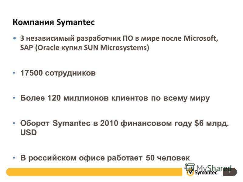 Компания Symantec 3 независимый разработчик ПО в мире после Microsoft, SAP (Oracle купил SUN Microsystems) 17500 сотрудников Более 120 миллионов клиентов по всему миру Оборот Symantec в 2010 финансовом году $6 млрд. USD В российском офисе работает 50