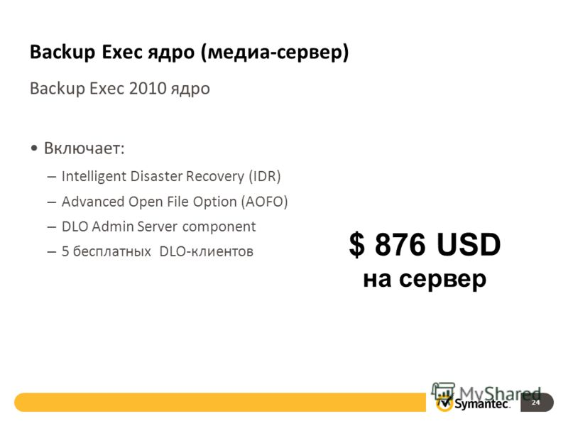 Backup Exec ядро (медиа-сервер) Backup Exec 2010 ядро Включает: – Intelligent Disaster Recovery (IDR) – Advanced Open File Option (AOFO) – DLO Admin Server component – 5 бесплатных DLO-клиентов 24 $ 876 USD на сервер