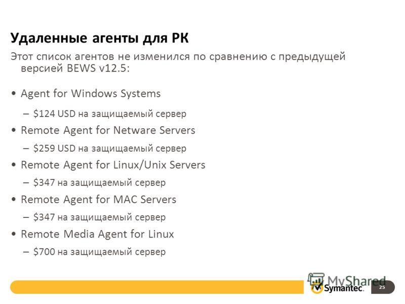 Удаленные агенты для РК Этот список агентов не изменился по сравнению с предыдущей версией BEWS v12.5: Agent for Windows Systems – $124 USD на защищаемый сервер Remote Agent for Netware Servers – $259 USD на защищаемый сервер Remote Agent for Linux/U