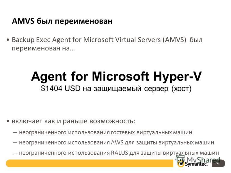 AMVS был переименован Backup Exec Agent for Microsoft Virtual Servers (AMVS) был переименован на… включает как и раньше возможность: – неограниченного использования гостевых виртуальных машин – неограниченного использования AWS для защиты виртуальных