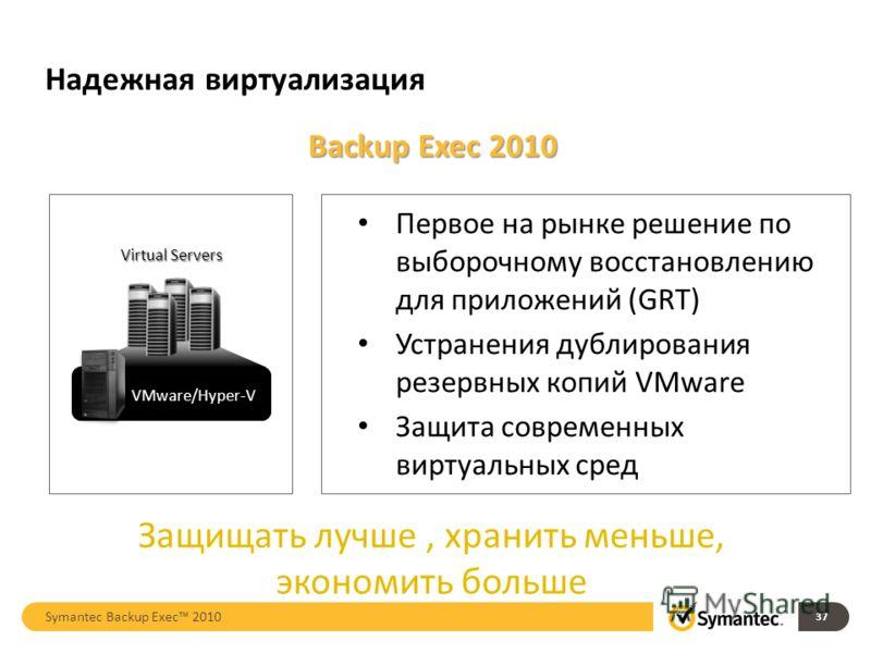 Backup Exec 2010 Защищать лучше, хранить меньше, экономить больше Первое на рынке решение по выборочному восстановлению для приложений (GRT) Устранения дублирования резервных копий VMware Защита современных виртуальных сред 37 Надежная виртуализация