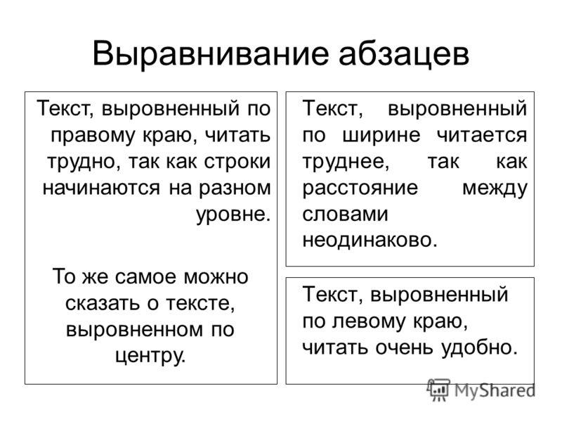 Выравнивание абзацев Текст, выровненный по левому краю, читать очень удобно. Текст, выровненный по ширине читается труднее, так как расстояние между словами неодинаково. Текст, выровненный по правому краю, читать трудно, так как строки начинаются на