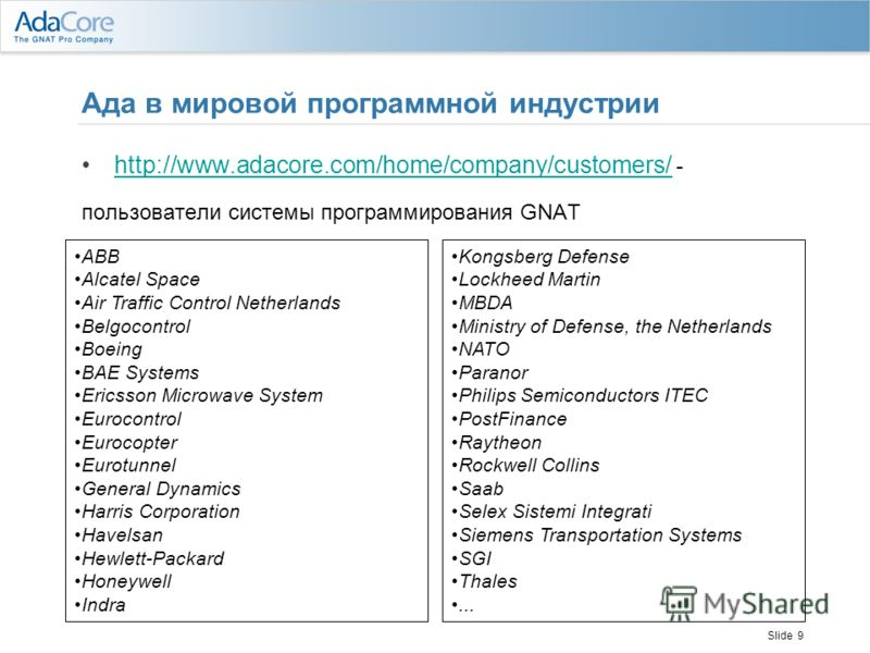 Slide 9 Ада в мировой программной индустрии http://www.adacore.com/home/company/customers/ -http://www.adacore.com/home/company/customers/ пользователи системы программирования GNAT ABB Alcatel Space Air Traffic Control Netherlands Belgocontrol Boein