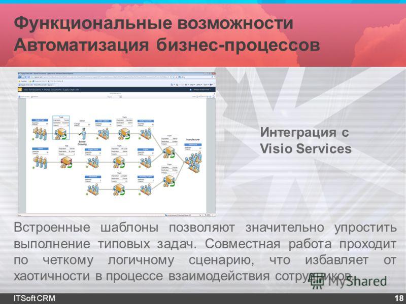 Функциональные возможности Автоматизация бизнес-процессов 18ITSoft CRM Встроенные шаблоны позволяют значительно упростить выполнение типовых задач. Совместная работа проходит по четкому логичному сценарию, что избавляет от хаотичности в процессе взаи