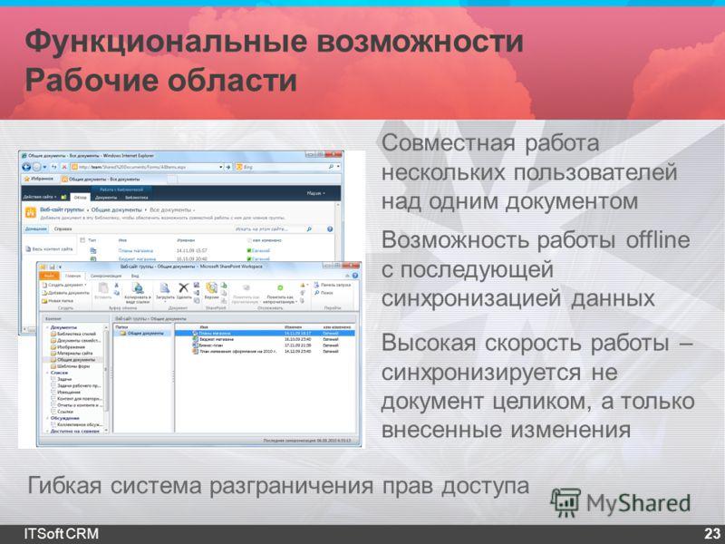 Функциональные возможности Рабочие области 23ITSoft CRM Совместная работа нескольких пользователей над одним документом Возможность работы offline с последующей синхронизацией данных Высокая скорость работы – синхронизируется не документ целиком, а т