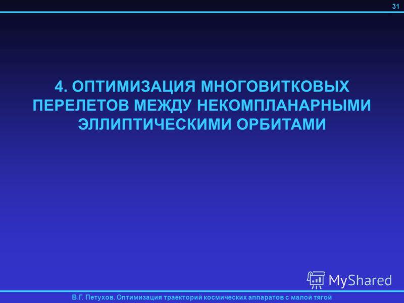 4. ОПТИМИЗАЦИЯ МНОГОВИТКОВЫХ ПЕРЕЛЕТОВ МЕЖДУ НЕКОМПЛАНАРНЫМИ ЭЛЛИПТИЧЕСКИМИ ОРБИТАМИ В.Г. Петухов. Оптимизация траекторий космических аппаратов с малой тягой 31