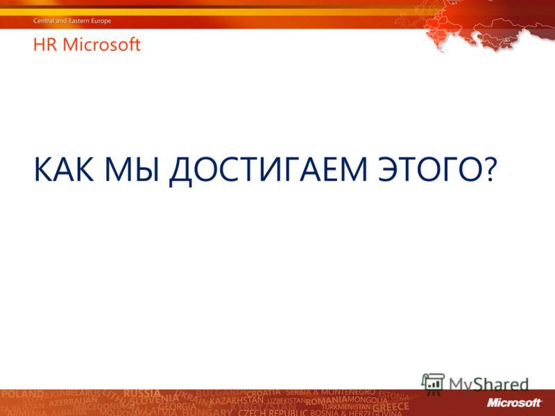 HR Microsoft КАК МЫ ДОСТИГАЕМ ЭТОГО?